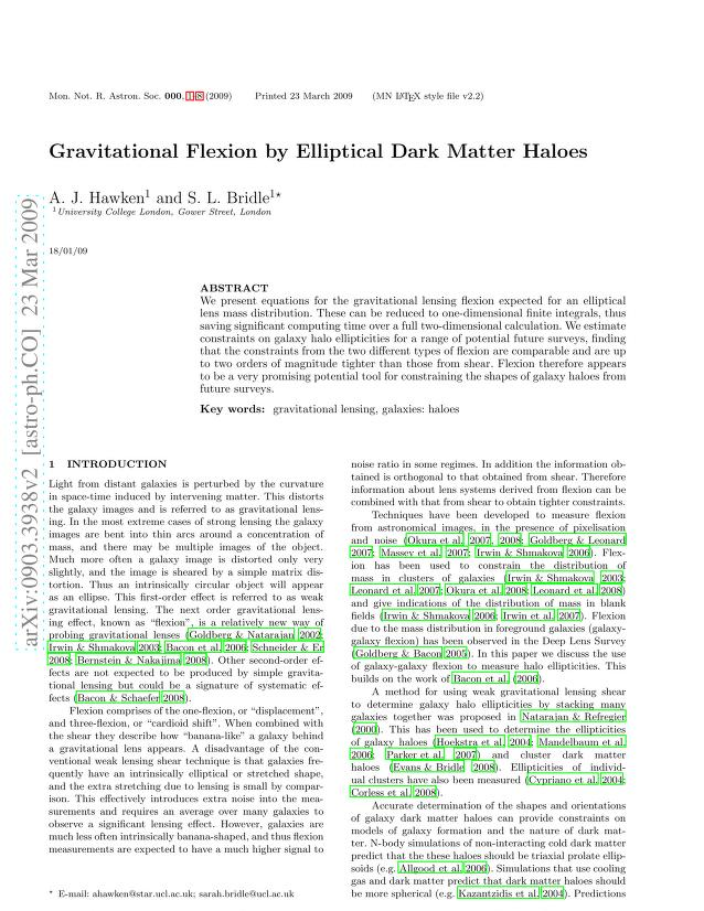 A. J. Hawken - Gravitational Flexion by Elliptical Dark Matter Haloes