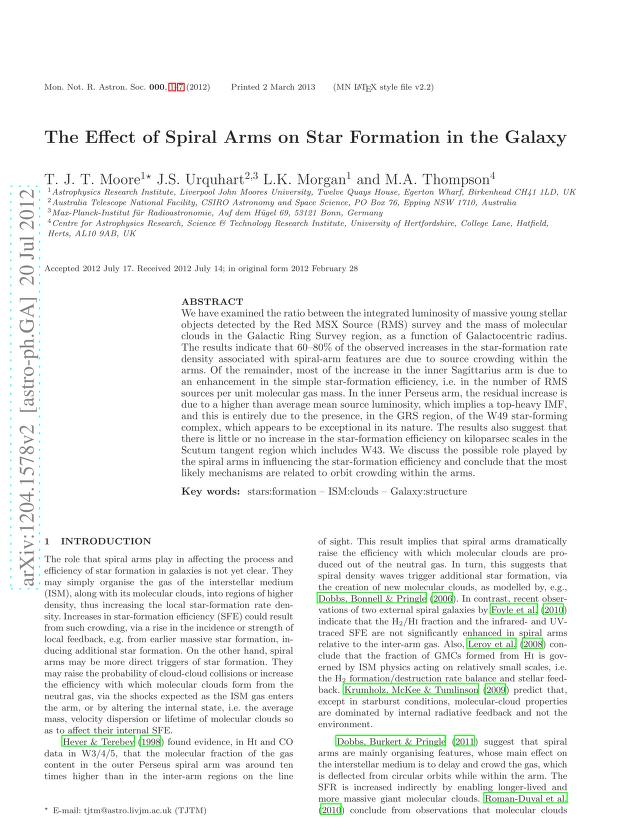 T. J. T. Moore - The Effect of Spiral Arms on Star Formation in the Galaxy