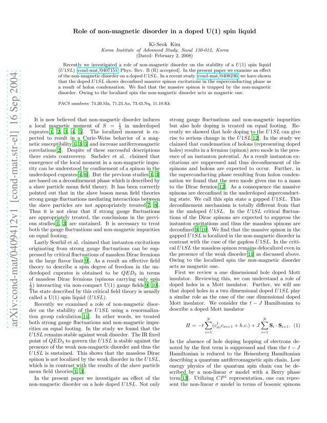 Ki-Seok Kim - Role of non-magnetic disorder in a doped U(1) spin liquid