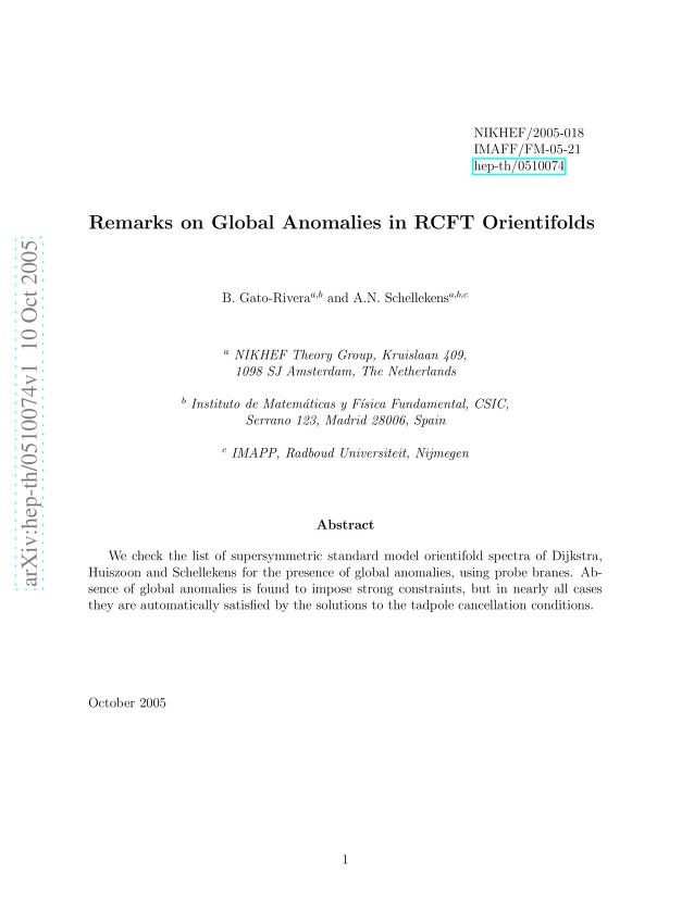 B. Gato-Rivera - Remarks on Global Anomalies in RCFT Orientifolds
