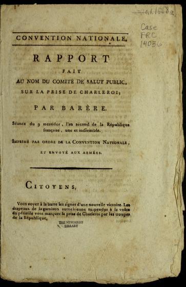 Rapport fait au nom du Comite  de salut public, sur la prise de Charleroi by B. Bare  re